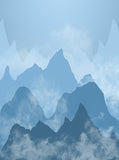 Cloudy Blue Shades Mountain Backdrop - 6886
