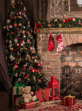 Printed Wood Cabin Christmas Celebration Holiday Backdrop - 6890
