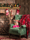 Printed Wood Cabin Christmas Chimney Celebration Holiday Chair Backdrop - 6891