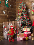Printed Christmas Holiday Cabin Presents Backdrop - 6892