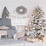 Printed Christmas Tree Holiday Chimney Home Chair Backdrop - 6896