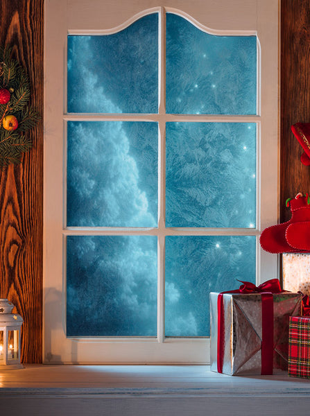 Printed Christmas Holiday Blue Snow Tree Window Backdrop - 6897