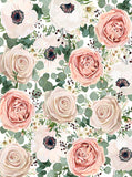 Printed Floral Ivory and Pink Roses Backdrop - 6930