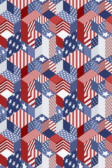 Printed Patriotic Stars and Stripes Block Pattern Background - 6935