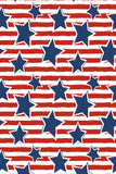 Printed Patriotic Navy Stars and Red Stripes Pattern Background - 6936