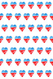 Printed Patriotic Watercolor Hearts US Flag Backdrop - 6939