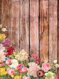 Wood With Flowers Backdrop - 7193 - Backdrop Outlet