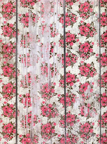 7395 Pink Flowers Wood Backdrop - Backdrop Outlet