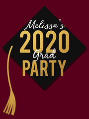 Graduation Cap Black and Gold Celebration Party Theme Backdrop (Any Color) Background - C0251