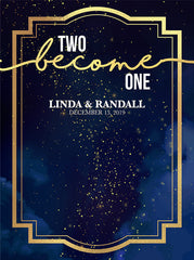To Become One Wedding  Midnight Sky and Gold Sparkles Theme Backdrop (Any Color) Background - C0254