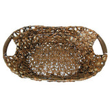 Dark Brown Woven Oval Baby Posing Bowl With Handles (Set Of 2) - LCPRA40083 - Backdrop Outlet