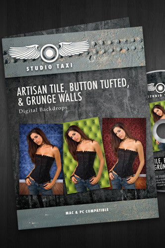 STTILE Artisan Tile, Button Tufted and Grunge Walls - Backdrop Outlet