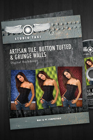 Artisan Tile, Button Tufted and Grunge Walls - STTILE - Backdrop Outlet