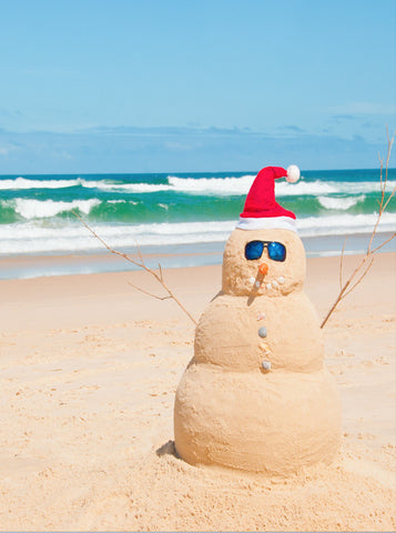 7688 Sand Snowman Beach Christmas Backdrop - Backdrop Outlet