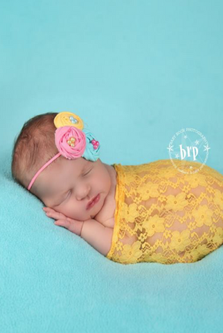 CPW305 Yellow Lace Baby Wrap 3ft x 5ft Photo Prop - Backdrop Outlet