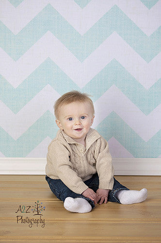 Chevron Teal Blue Printed Photo Backdrop - 3521 - Backdrop Outlet