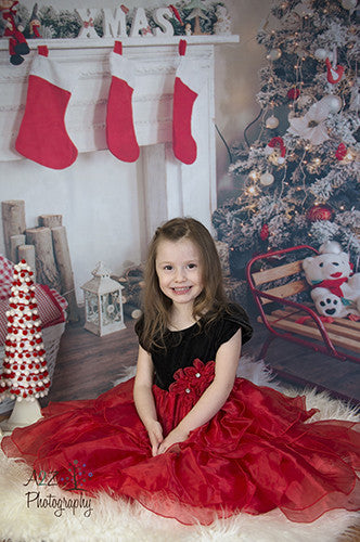 Red Stockings Christmas Backdrop - 5311 - Backdrop Outlet