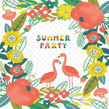 6149 Summer Flamingo Party Floral Backdrop - Backdrop Outlet