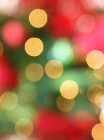 x083 Printed Bokeh Christmas Red Green Photo Backdrop - Backdrop Outlet