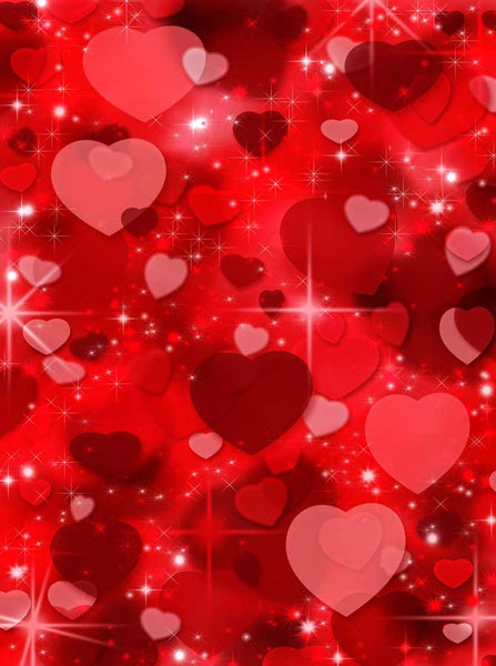 Printed Photography Background - Red Love Hearts With Sparkles - 1043 - Backdrop Outlet