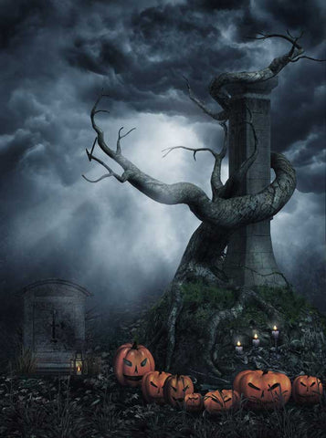 Printed Photo Background - Dark Halloween With Mysterious Tree - 1051 - Backdrop Outlet