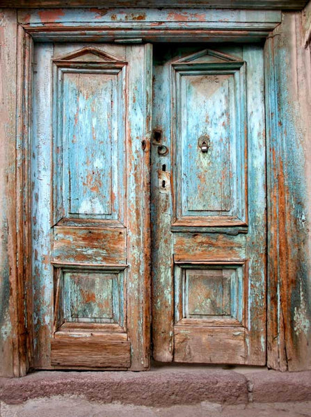 Blue Rustic Vintage Doors Printed Photography Backdrop