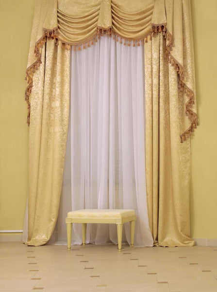 1094 Architecture Golden Drapes Printed Photography Backdrop - Backdrop Outlet