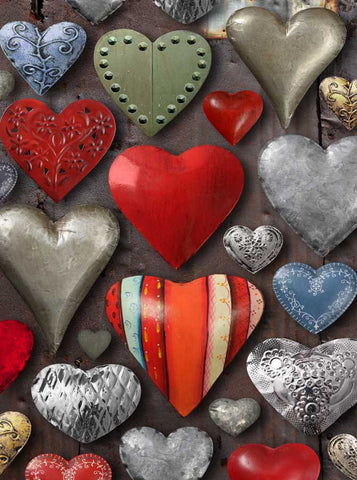 1193 Tin Hearts Backdrop - Backdrop Outlet
