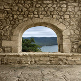 1282 Stone Rock Archway With View Backdrop - Backdrop Outlet