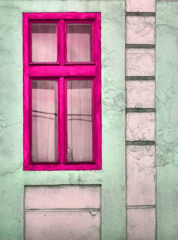 1432 Pink Window Backdrop - Backdrop Outlet