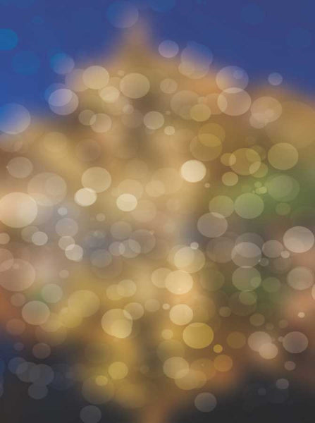 1445 Bokeh Gold and Blue Backdrop - Backdrop Outlet