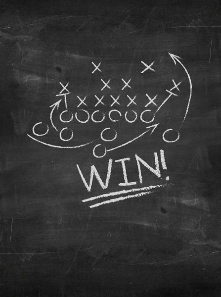 1473 Chalkboard Football Win Backdrop - Backdrop Outlet