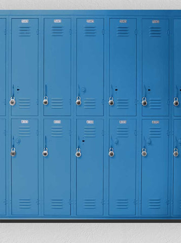1500 Blue Lockers Backdrop Back to school background - Backdrop Outlet