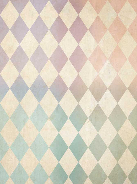 1513 Blush Rainbow Harlequin Check - Backdrop Outlet