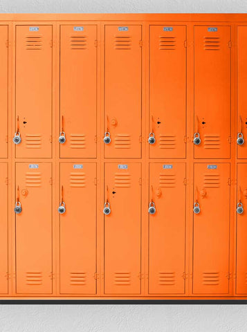 1516 Orange Lockers Backdrop School - Backdrop Outlet