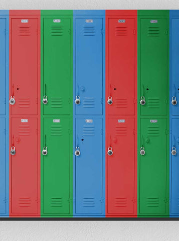 1518 Lockers Red Green Blue Backdrop Back to School - Backdrop Outlet