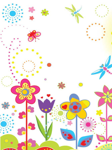 1520 Printed Whimsical Flowers Backdrop - Backdrop Outlet