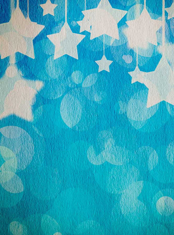 1589 Printed Blue Stars Backdrop - Backdrop Outlet