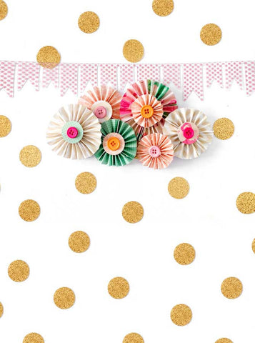 1631 Printed Gold dots with PinWheels Backdrop - Backdrop Outlet