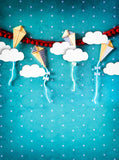 Printed Fun With Kites Blue Backdrop - 1634 - Backdrop Outlet
