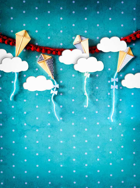1634 Printed Fun With Kites Blue Backdrop - Backdrop Outlet