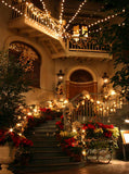 Christmas Holiday Night Staircase Backdrop - 200 - Backdrop Outlet