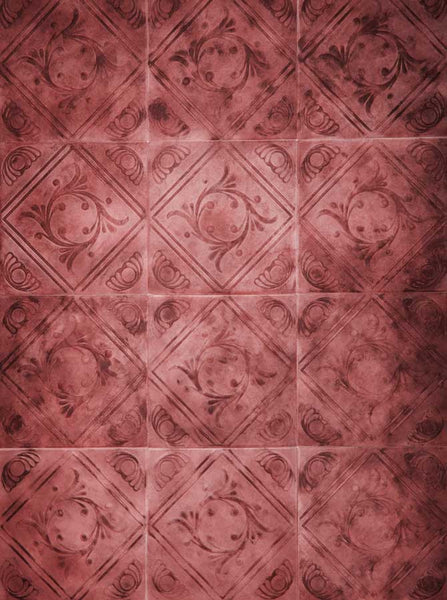 2010 Red Patina Tile Wall Backdrop - Backdrop Outlet