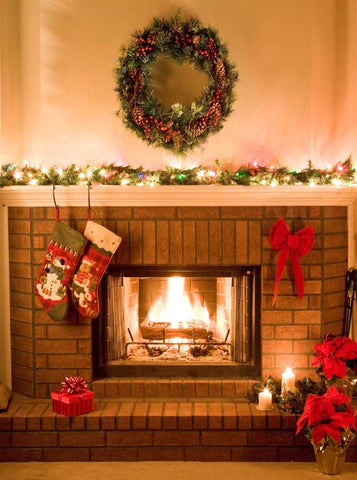 Christmas Brick Fireplace Backdrop - 201 - Backdrop Outlet