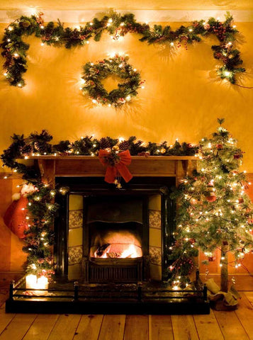 Christmas Fireplace Garland Backdrop - 202 - Backdrop Outlet