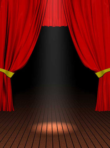 2033 Printed Red Stage Curtains Backdrop - Backdrop Outlet