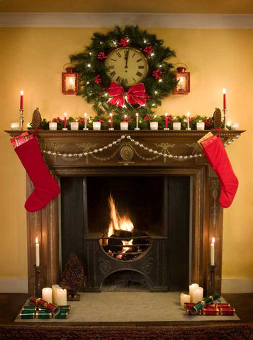 207 Christmas Fireplace Wood Backdrop - Backdrop Outlet