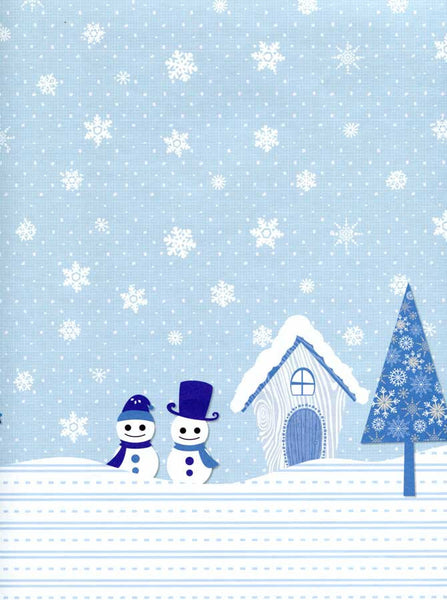 Blue Snowman Snowflake Backdrop - 2087 - Backdrop Outlet