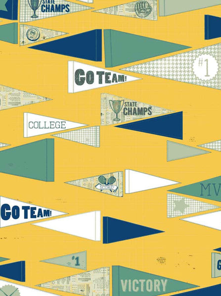 Gold Go Team Pennants Backdrop School - 2125 - Backdrop Outlet