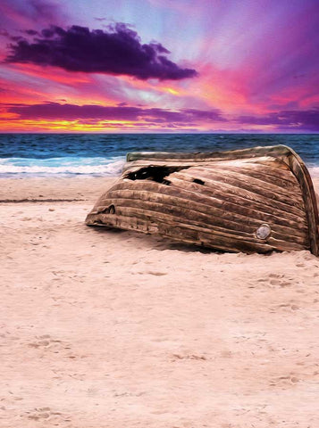 2172 Printed Beach Boat Backdrop - Backdrop Outlet